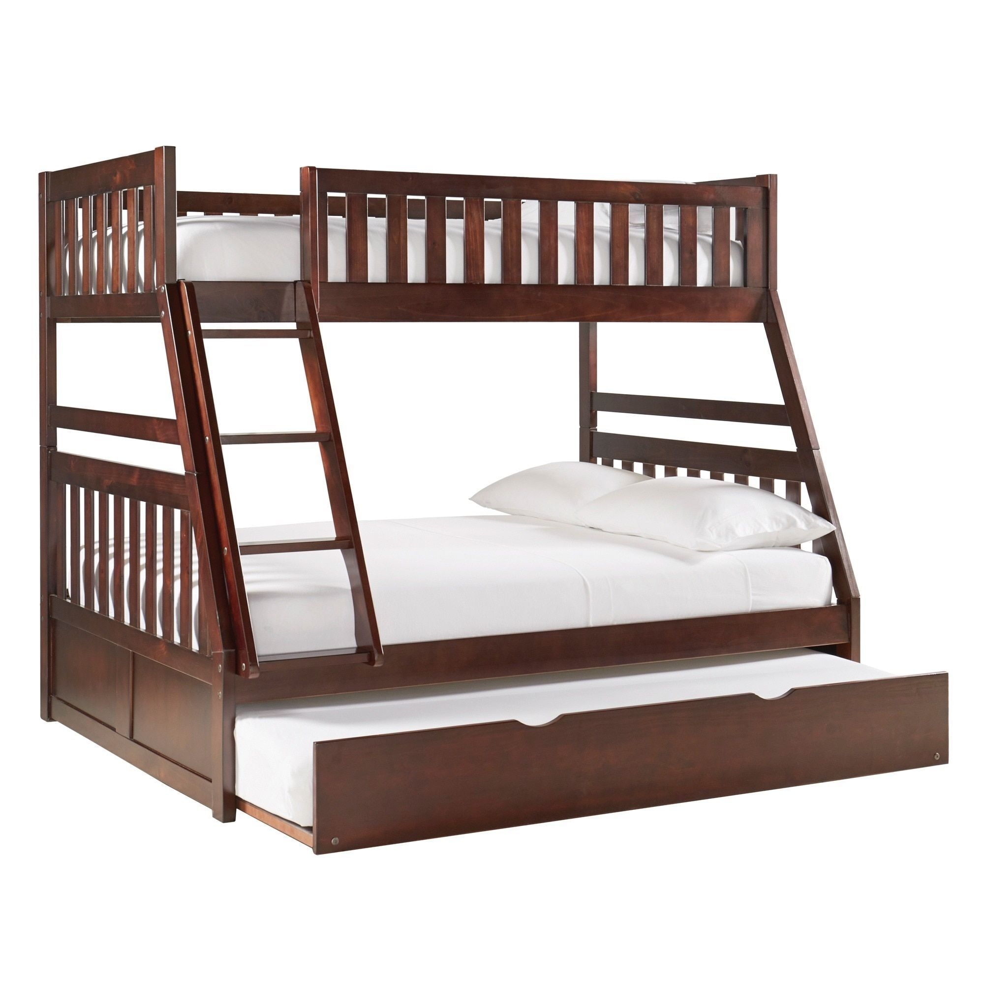 Hunter Traditional Dark Cherry Wood Bunk Bed And Trundle by iNSPIRE Q  Junior by iNSPIRE Q