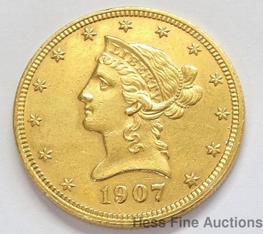1907 10 Dollar American Eagle Liberty Head Gold Coin Coins Gold Coins Rare Coins