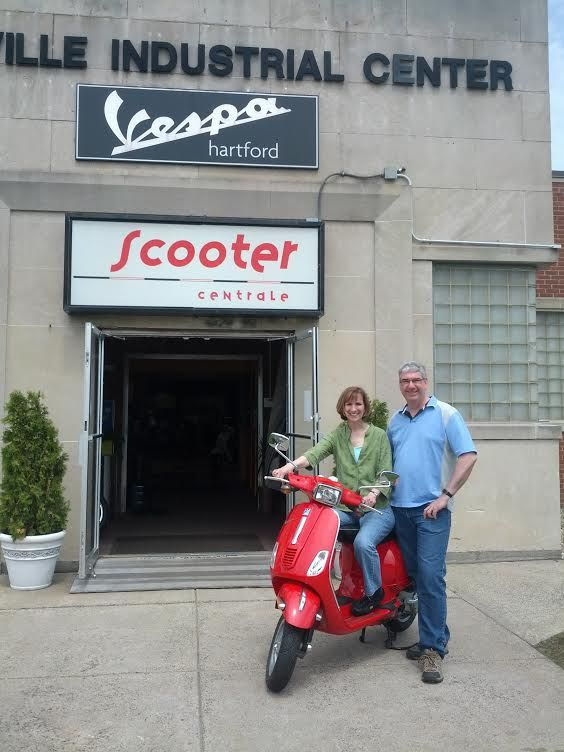 The Mulvaney's are very happy about this Certified Pre-owned 2009 Vespa S50 and are looking forward to riding it around this summer! Thank you both & enjoy! :)  #Vespa #VespaHartford #Scooter #ScooterCentrale #Fun #Smile