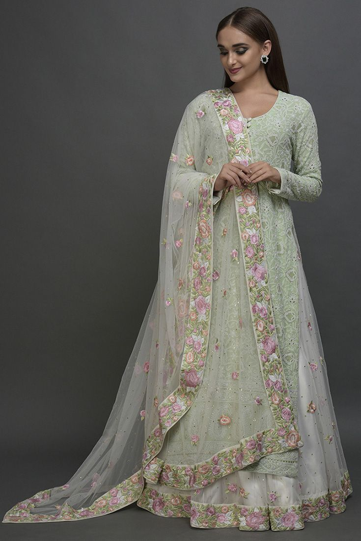 9da1114c6e Sage Green Chikankari Shirt with Floral Embroidered Skirt & Dupatta ...