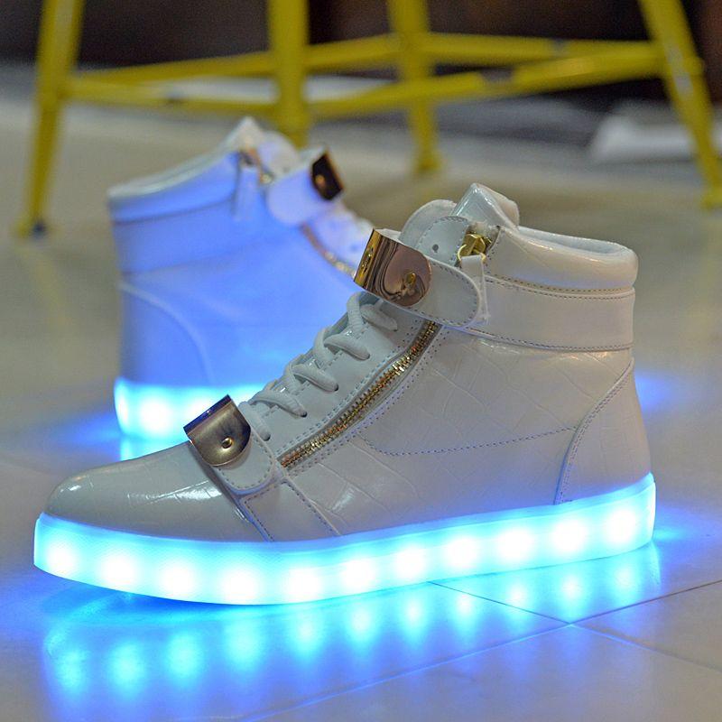 3c6bd4d4e7e 8 Colors Led Shoes Men Women High Top Sneakers Luminous Shoes
