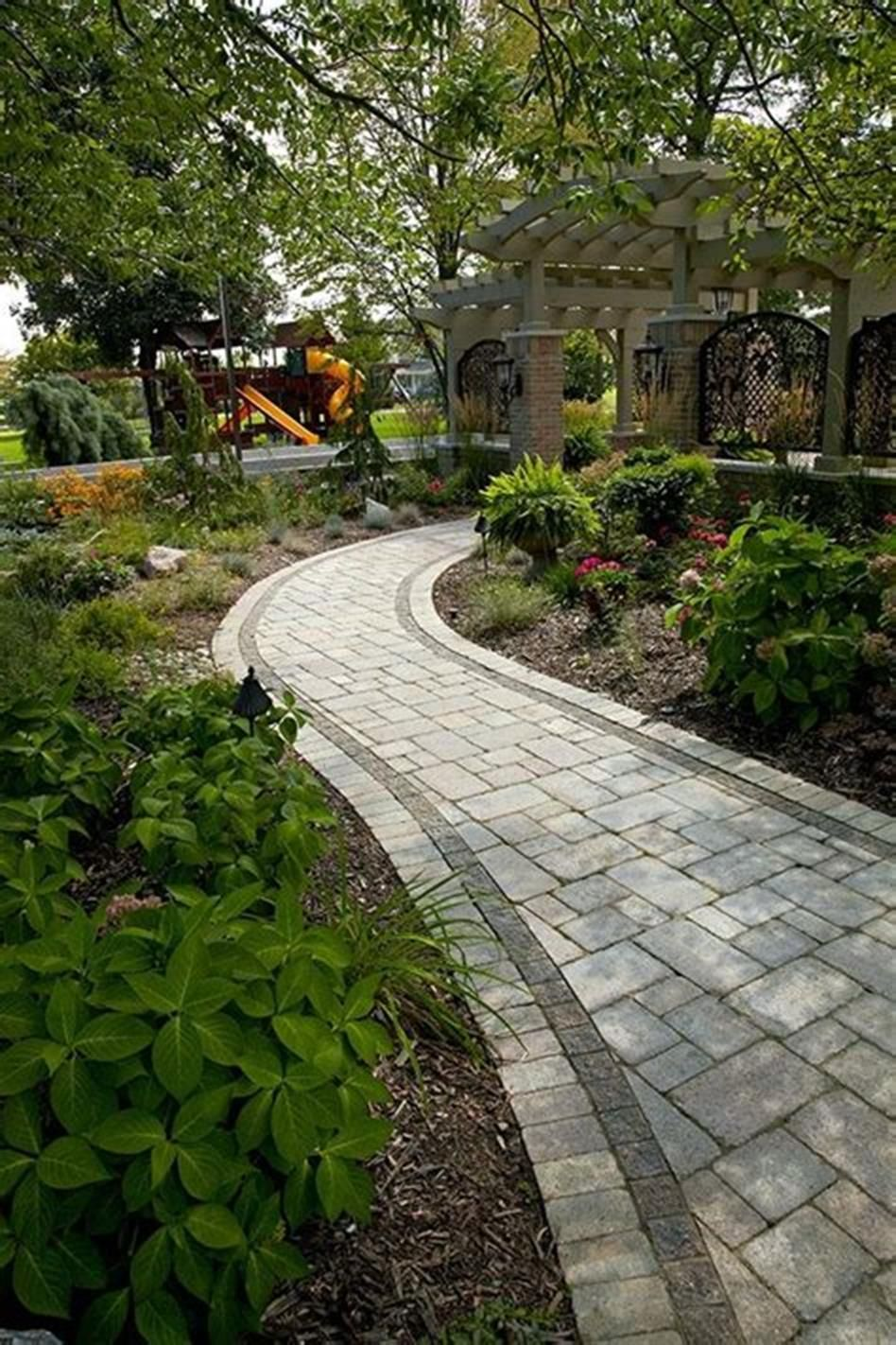 40+ Best Brick And Concrete Walkway Designs Ideas ... on Concrete Front Yard Ideas id=24342