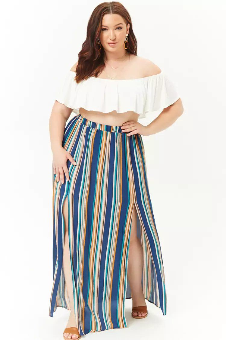 158901a335 Product Name:Plus Size Multi-Striped Maxi Skirt, Category:plus_size-main,  Price:19.9