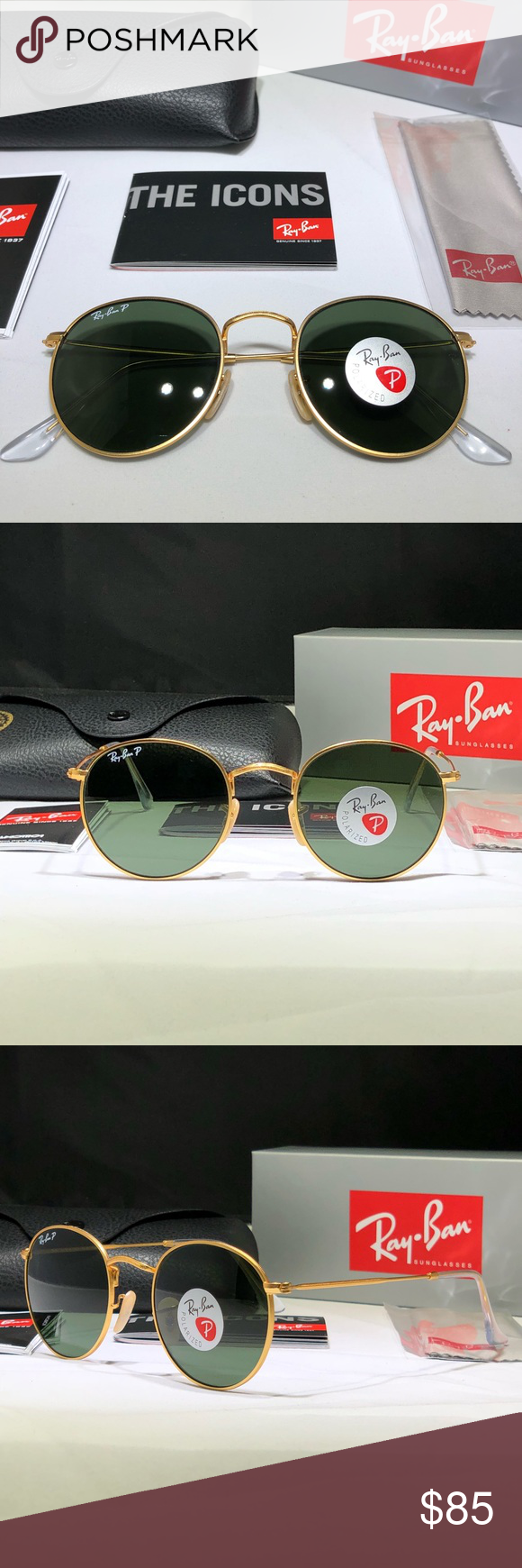 676a33a4156 Rayban 50mm Round Polarized Sunglasses NWT Original AUTHENTIC Rayban round  sunglasses. Matte gold frame with