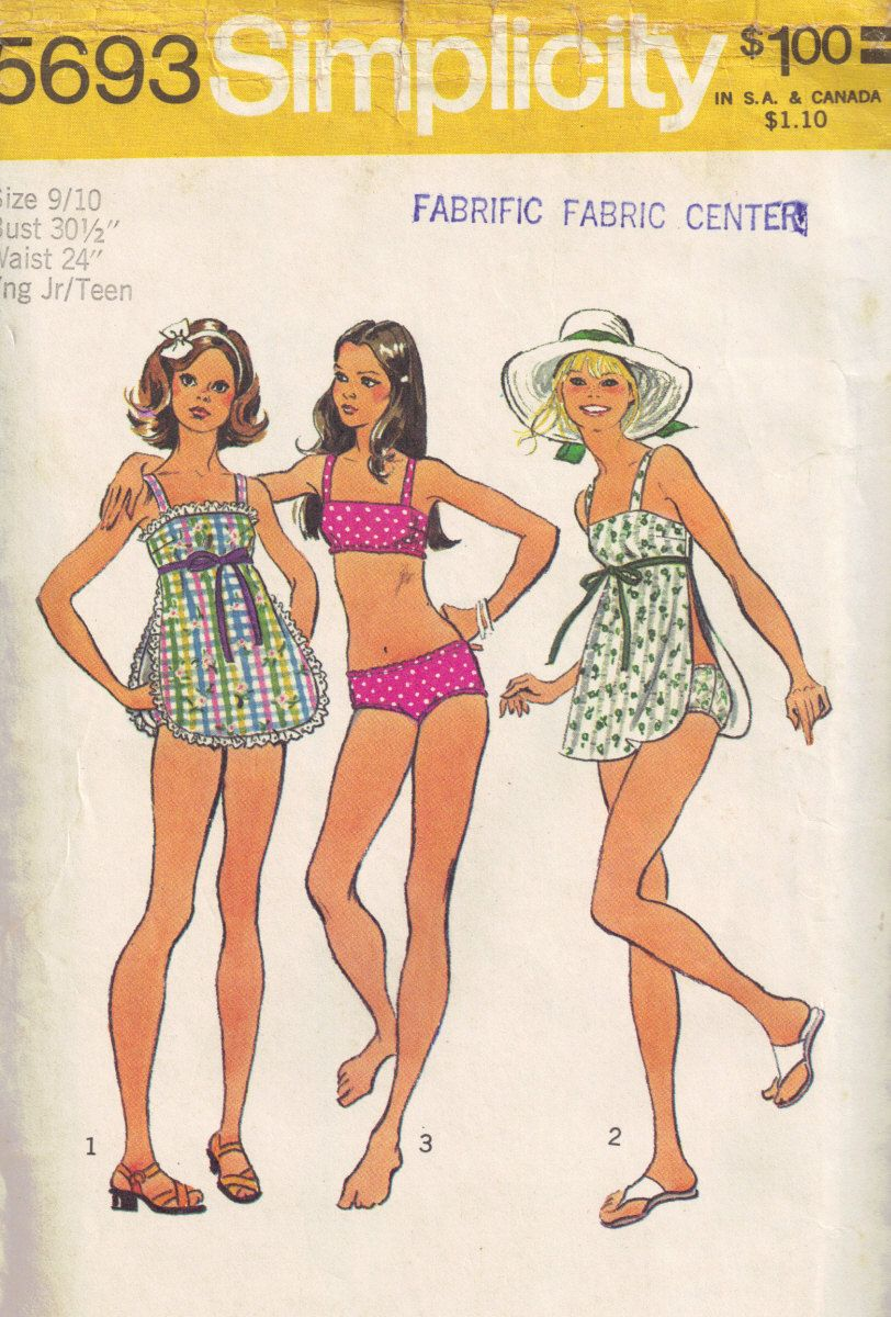 Simplicity 5693 Vintage 1970s Sewing Pattern, 2 Piece Swimming ...