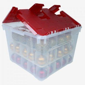 You will find a variety of storage containers with red and green lids for storing Christmas decor, orange for Halloween, green for St Patrick's day....you get the picture!