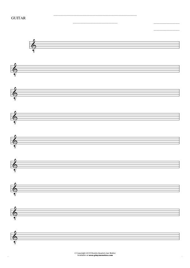 Free Blank Sheet Music sheet music by Jan Walter. Part: Notes for ...