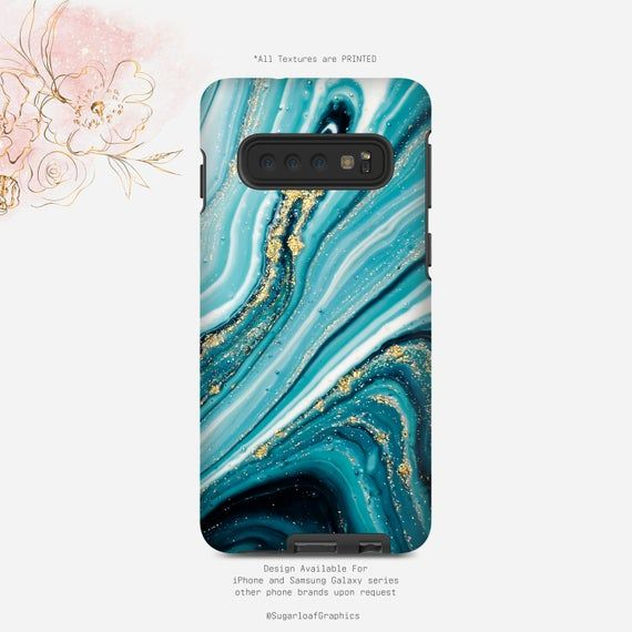 Teal Turquoise Marble Texture Print Phone Case Gold Glitter Swirl iPhone Case Samsung Case iPhone X Case iPhone XS Case Google Pixel Case #marbletexture