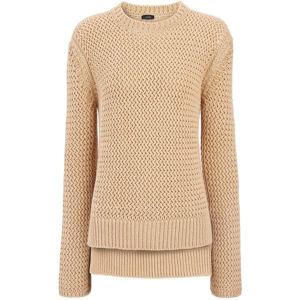 Joseph Open Basket Weave Knit Sweater in OATMEAL (£285) ❤ liked on Polyvore e40b2c515
