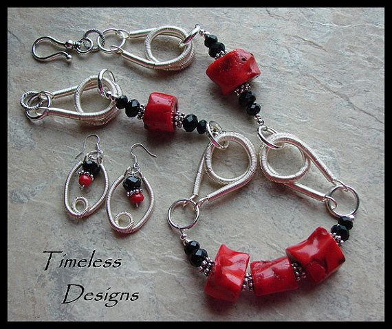 Red Branch Coral Swarovski Crystals Necklace by timelessdesigns07, $79.00