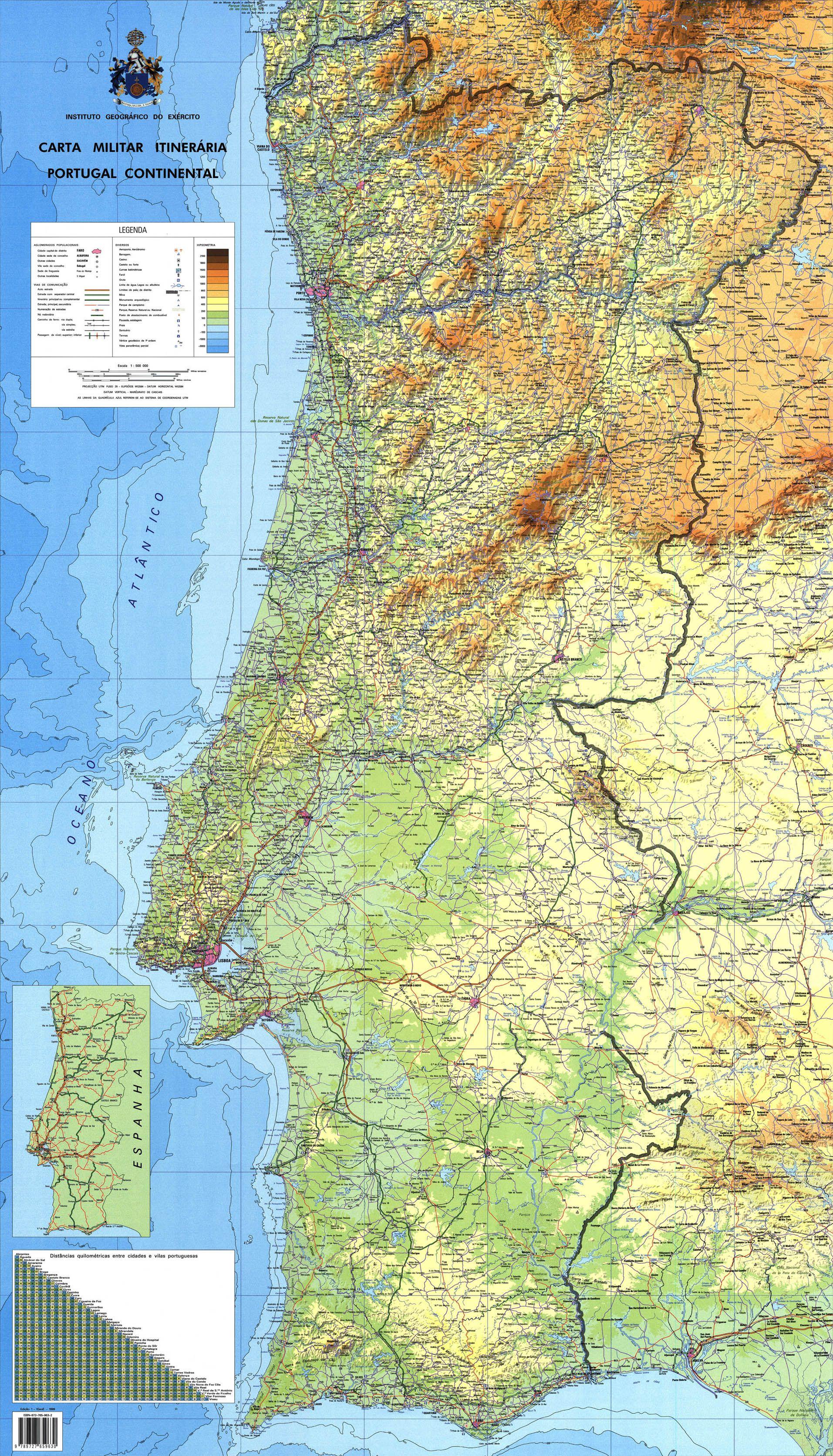 Mapa Topografico De Portugal