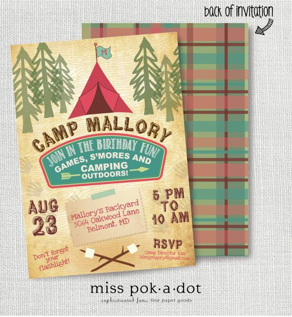 Girl camp out birthday sleepover invitation printable camping camping girl camping camp out kids birthday party invitation filmwisefo Image collections