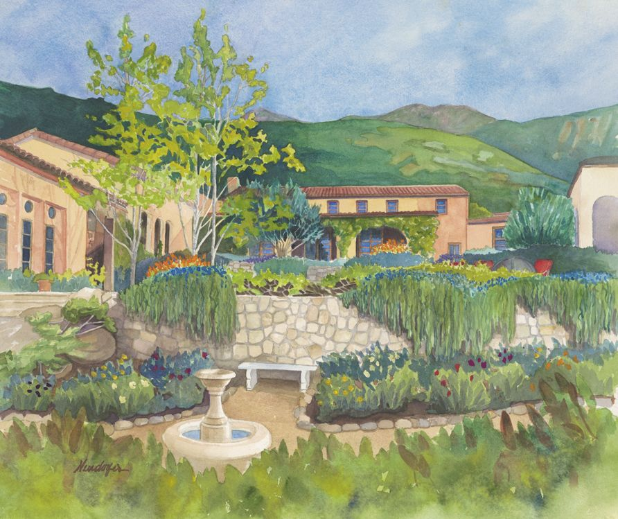 """Forgatch Residence - San Miguel Ranch  18x22"""" watercolor"""