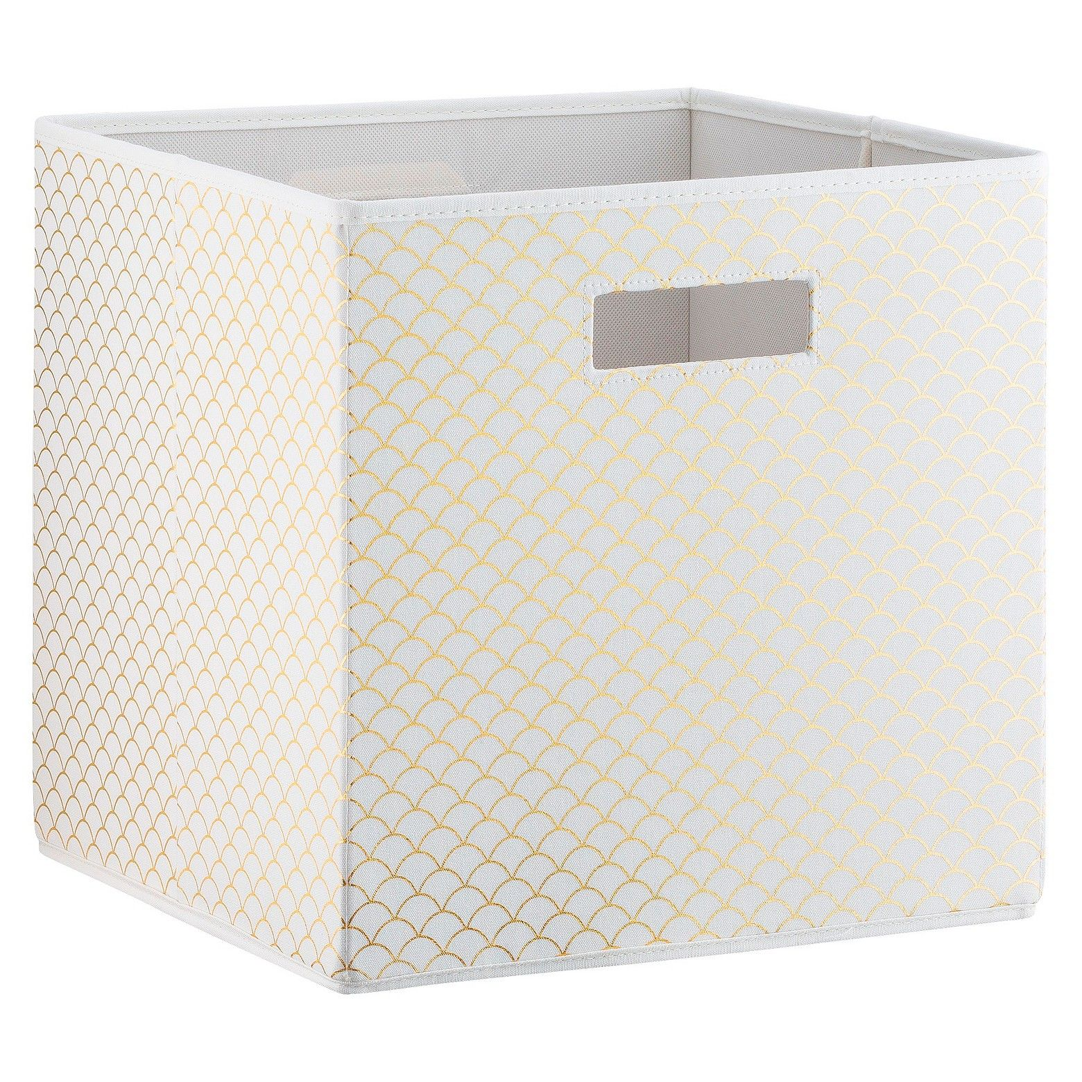Scallop Kd Storage Toy Bin White Gold Pillowfort Fabric Storage Bins Toy Storage Bins Cube Storage Bins