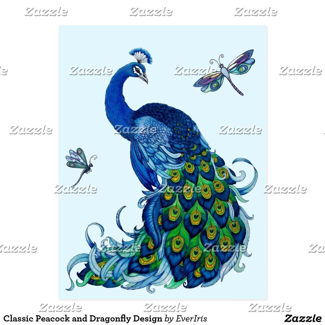 Postal Diseño clásico del pavo real y de la libélula   Pinterest ...
