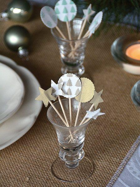 Palillos decorados con motivos navideños