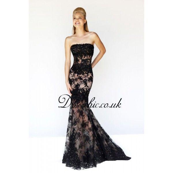 Designer Prom Dresses | 2014 Designer Black Lace Strapless Mermaid ...