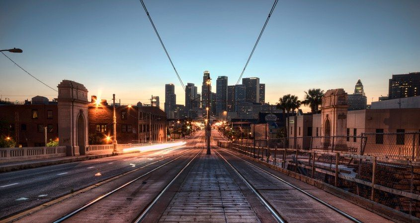 Metro Tracks in Downtown Los Angeles