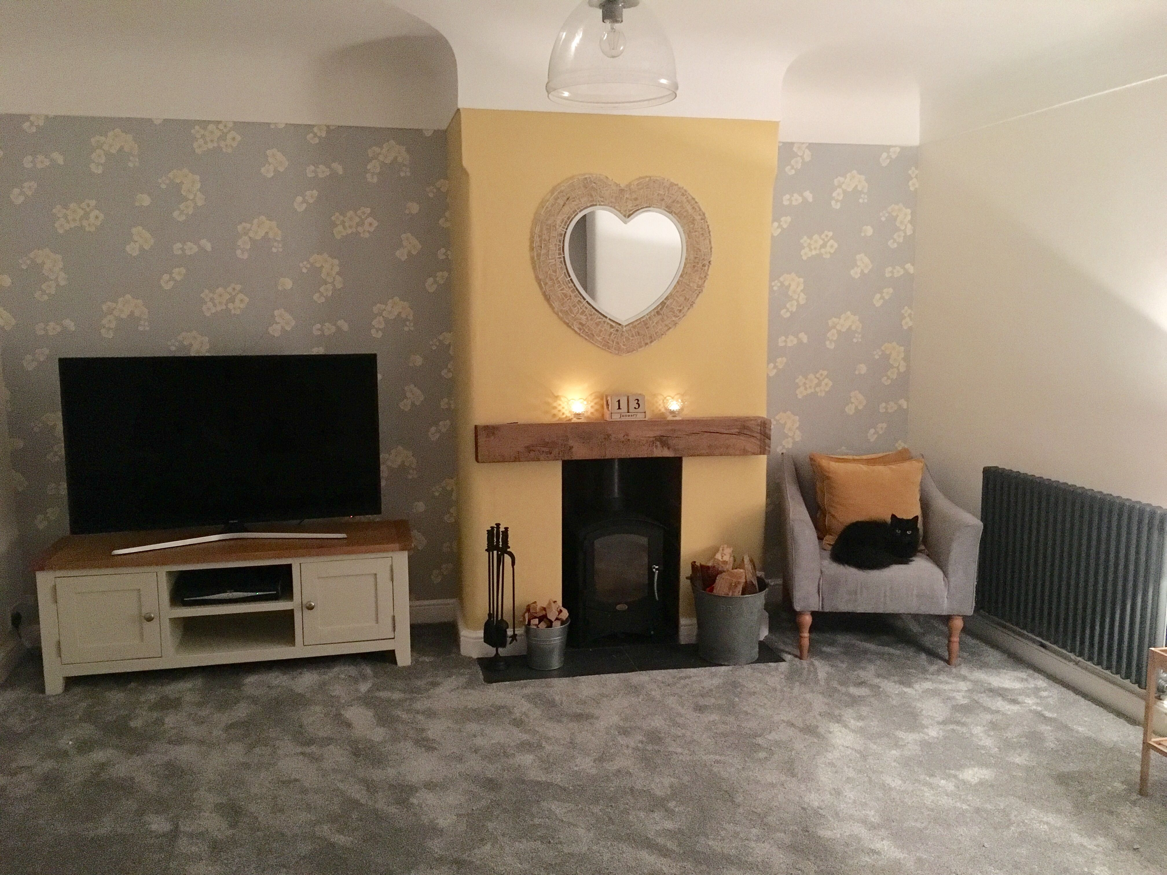 New Living Room Graham Brown Grey Soft Ochre Wallpaper With Dulux Butter Biscuit Paint New Living Room Home Decor Room