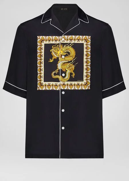 Dragon Motif Short Sleeve Shirt Black Shirts Shirts Versace Shirts Slim Shirts