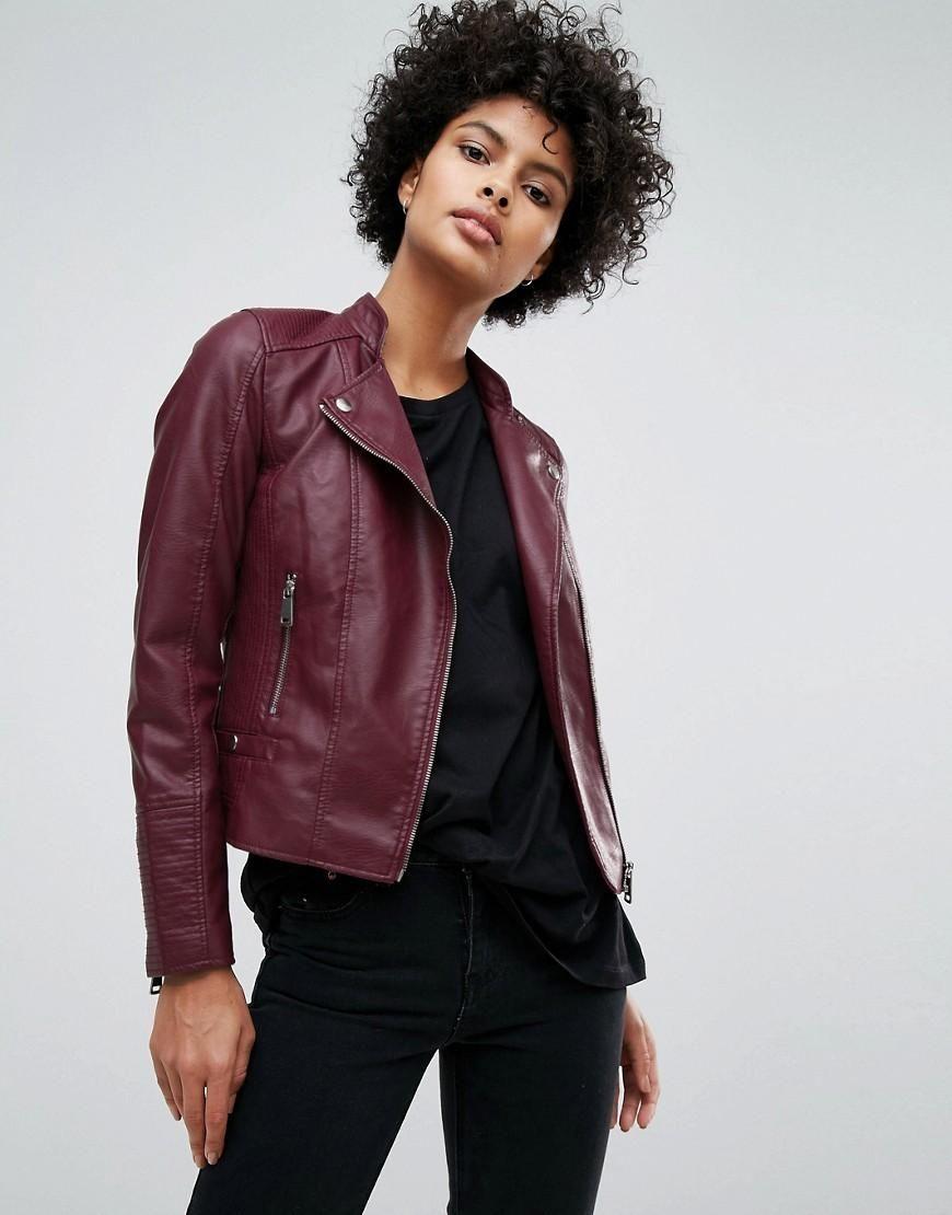 d41e59062 ASOS - #Vero Moda Vero Moda Leather Look Biker Jacket - Purple ...