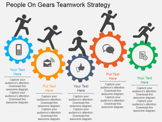 Powerpoint tutorial 6 how to make a gear diagram in just 3 simple professional gears ppt template to highlight teamwork maxwellsz