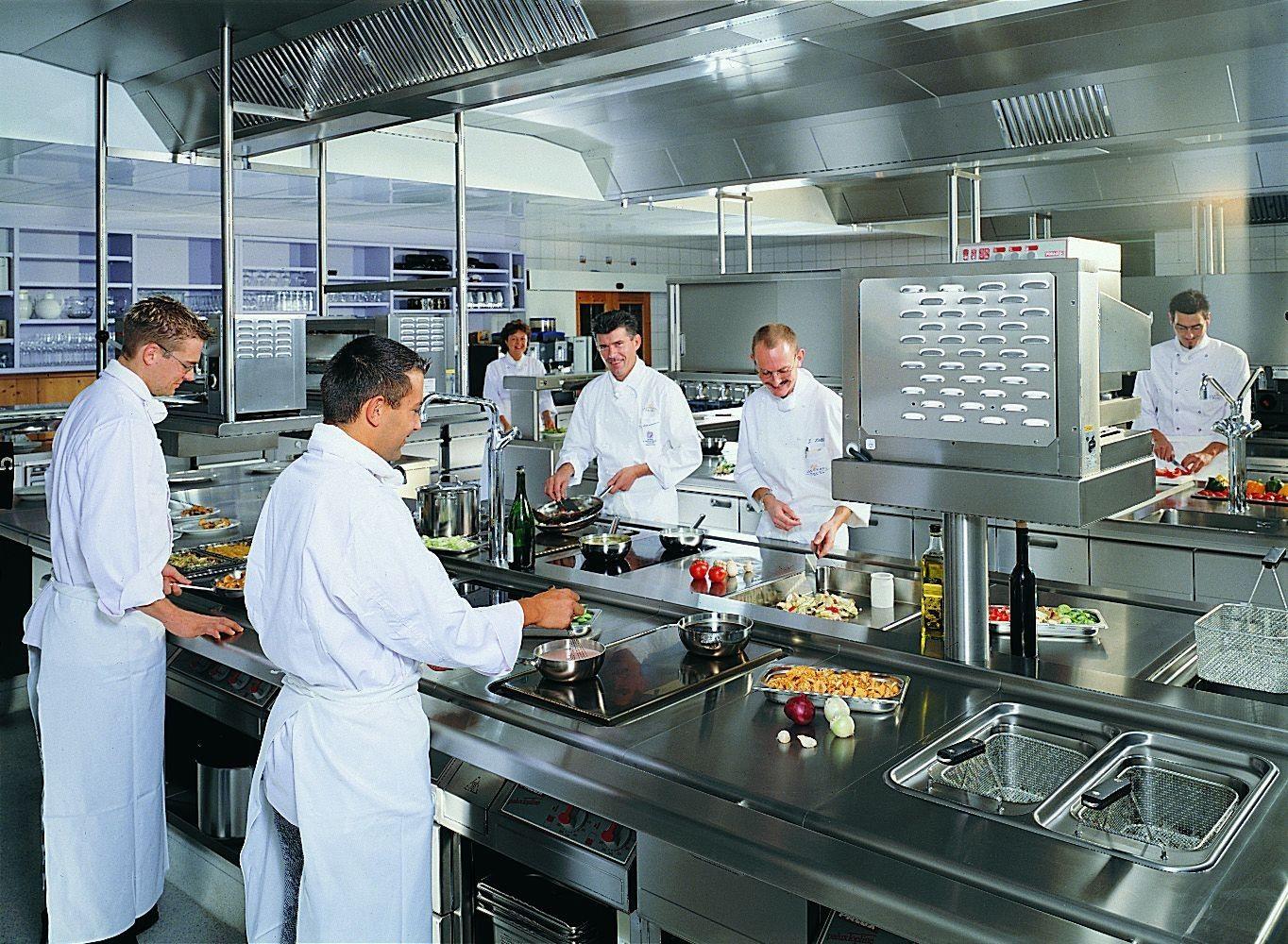 Kitchen, Best Restaurant Kitchen Design Layout Example With Lighting ...