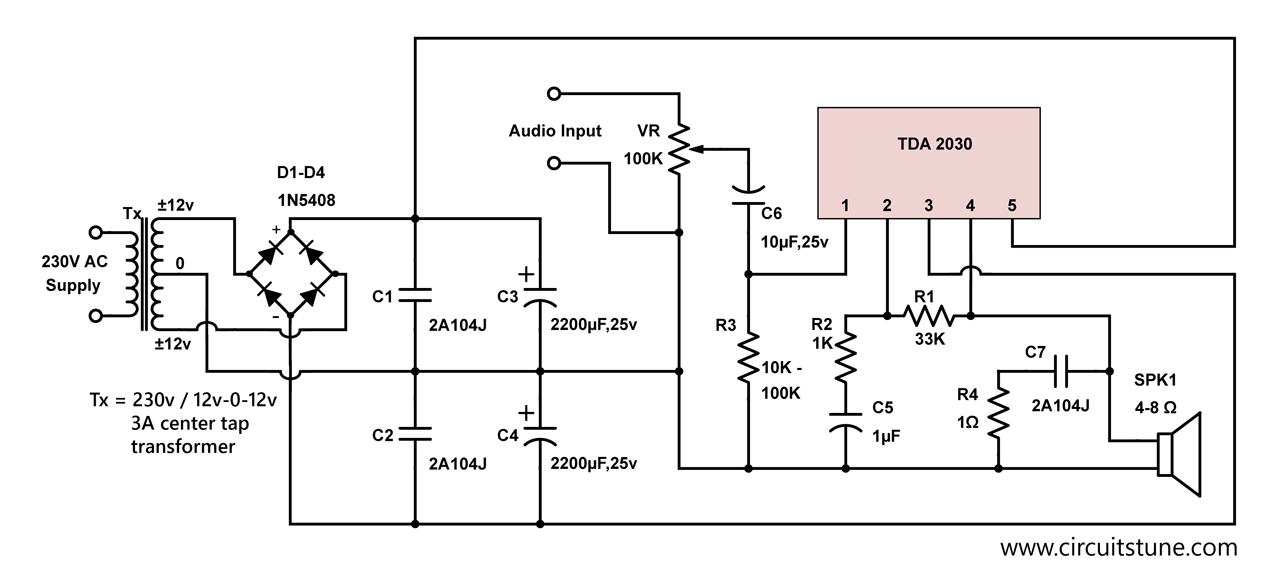 10w audio amplifier circuit by tda2030 png 1276 570 electronic rh pinterest com LM386 Audio Amplifier Circuit Audio Amplifier Circuit Diagram