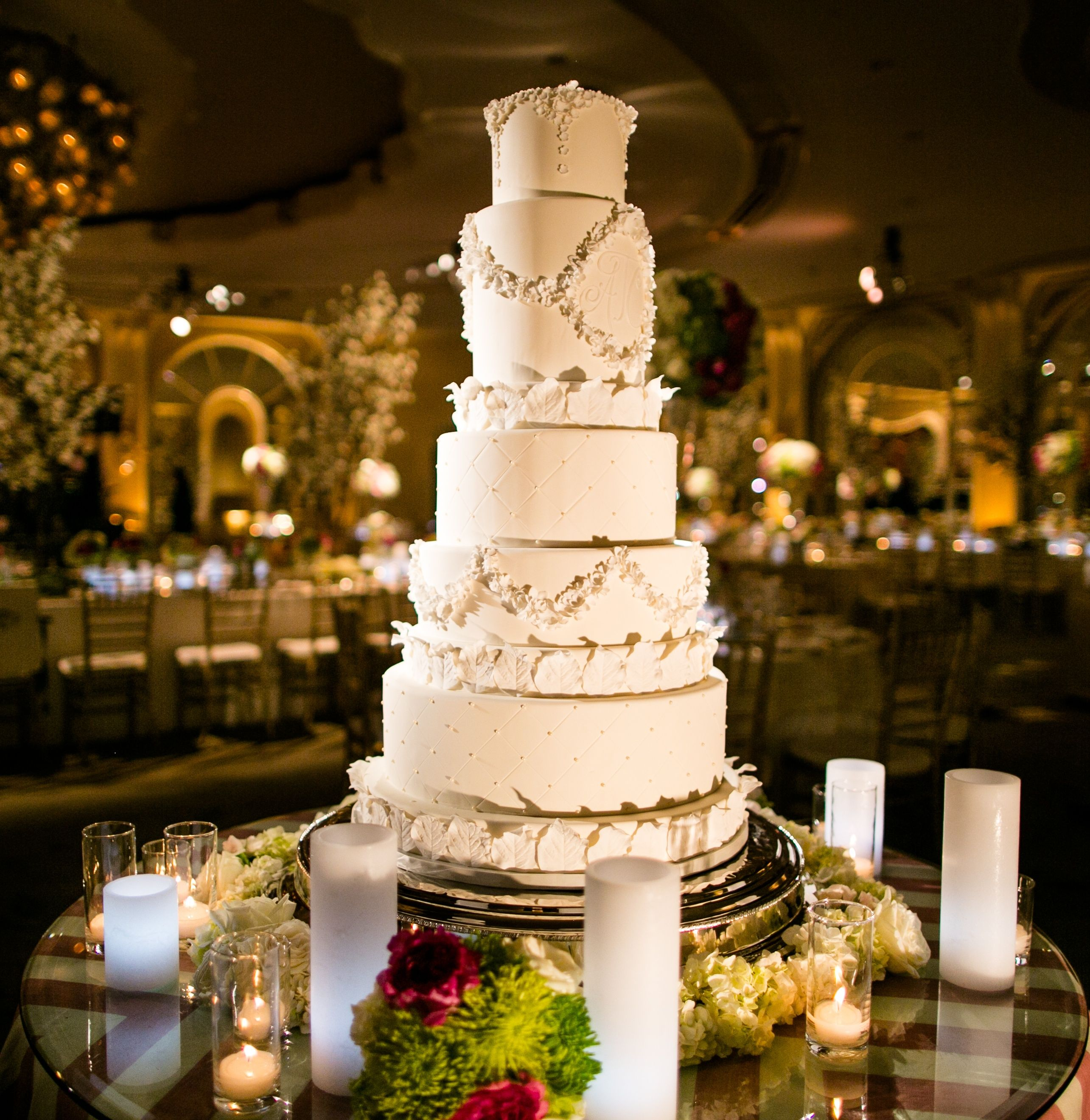Five-Tier Quilted and Monogrammed Fondant Cake | The Butter End Cakery | The Beverly Hills Hotel | Samuel Lippke Studios | TheKnot.com