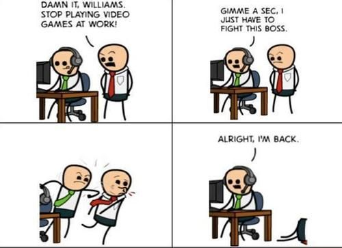 Playing Video Games At Work Is Definitely Not A Good Idea Funny Pictures Geek Humor Funny Memes