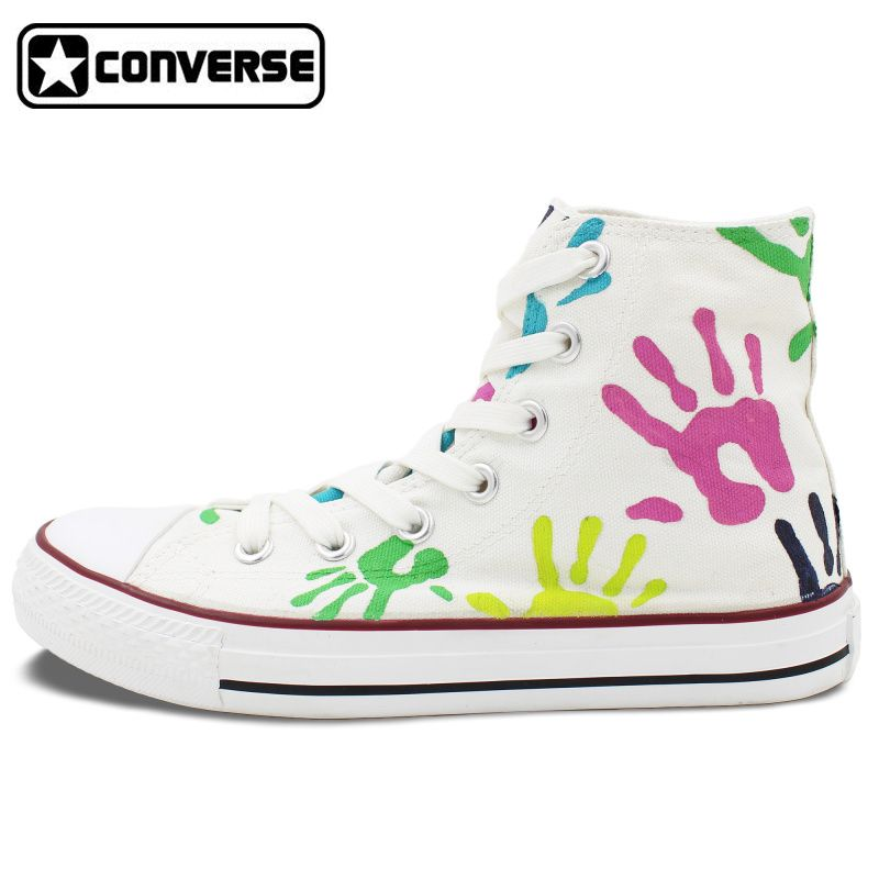 Custom Converse All Star Shoes Colorful Palm Print Original Design Hand  Painted Shoes Men Women High