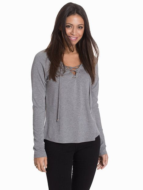 Chill Lace Up Top - Nly Trend - Harmaa Melange - Paidat & Topit - Vaatteet - Nainen - Nelly.com