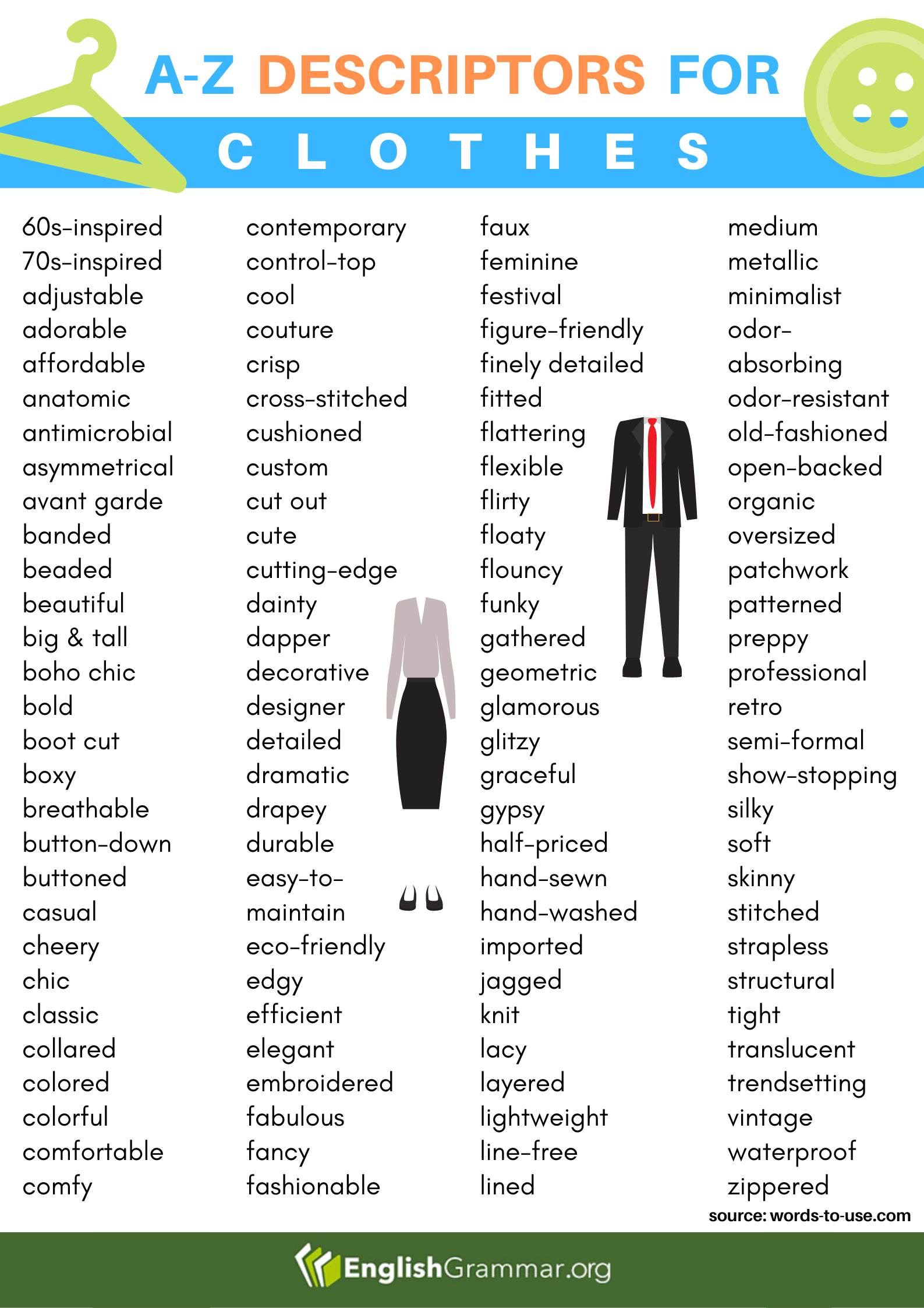 AZ Descriptors for Clothes in 2020 Learn english words