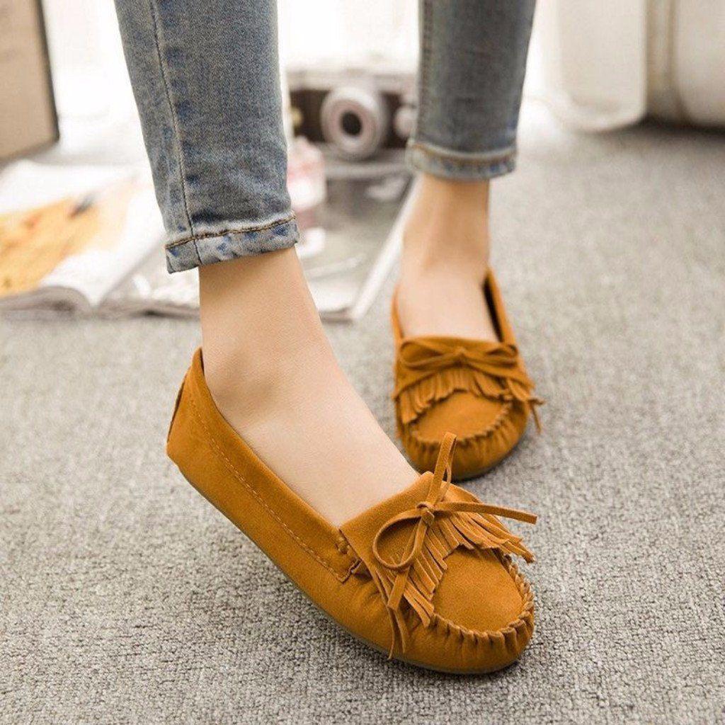 Flat Bowknot Tassels Women Shoes   Flat
