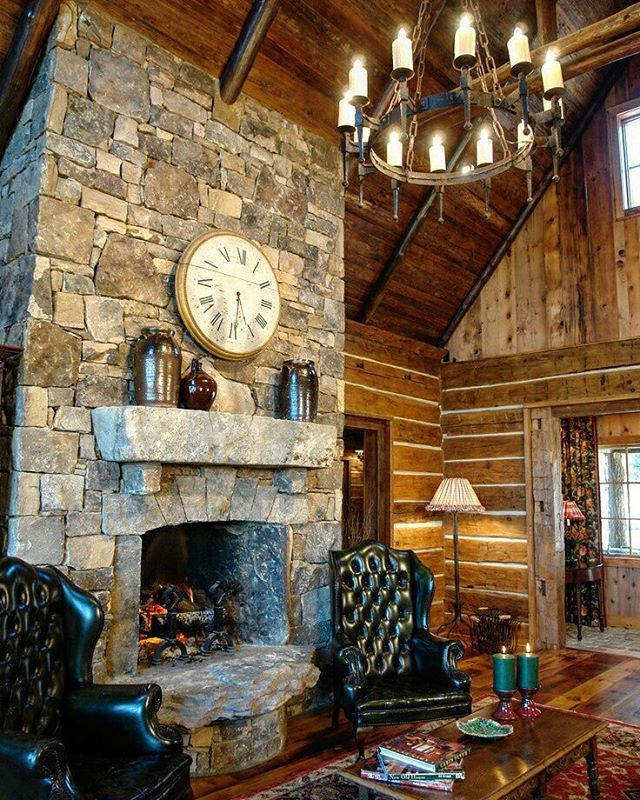 Explore Your Options Hand Hewn Logs Stone Fireplace