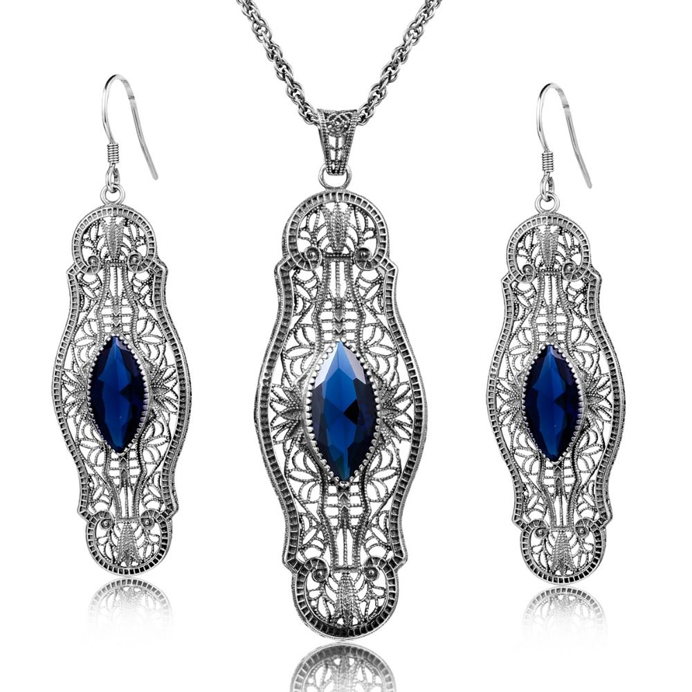 Palace fashion vintage jewelry sets created sapphire sterling