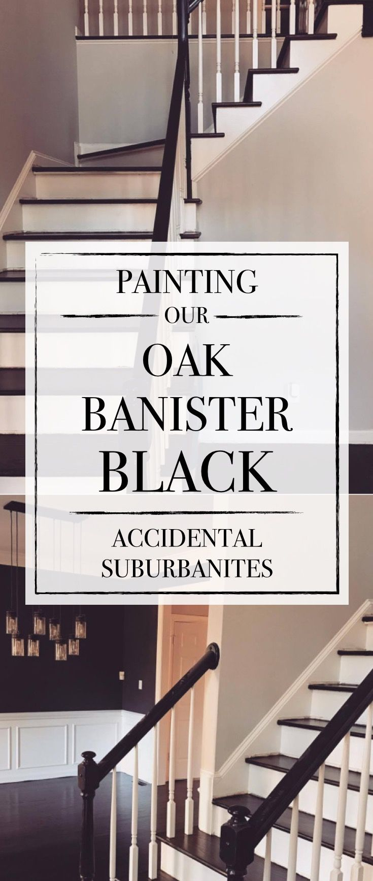 Painting Our Oak Banister Hand Railing Black Amazing Diy