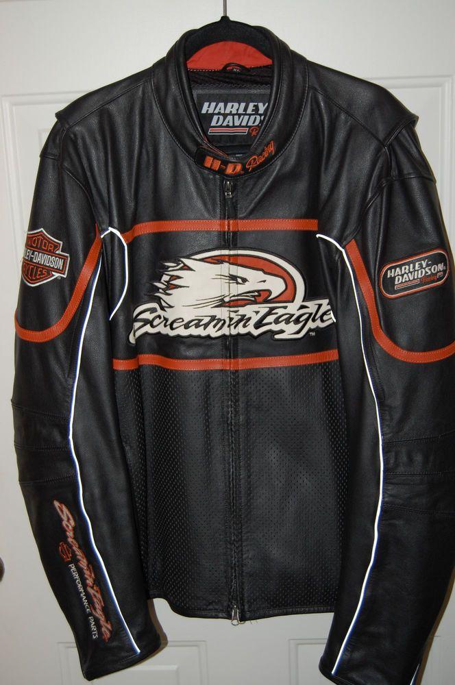 Harley Davidson Men S Screamin Eagle Leather Jacket Xl Raceway 98226 06vm Rare Harleydavidson Motorcycle