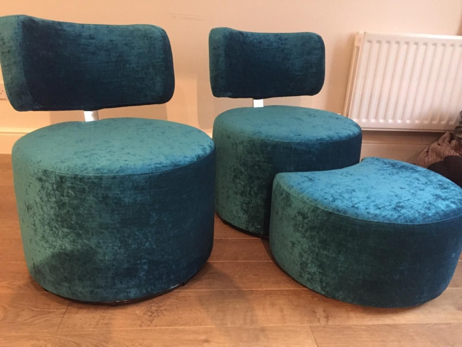 Quirky compact circular armless swivel chairs with a matching three quarter circular stool. Covered in Ross Fabrics Pistache - slub velvet - petrol. & Limited space? Then youu0027ll just want he compact swivel chair. If ... islam-shia.org
