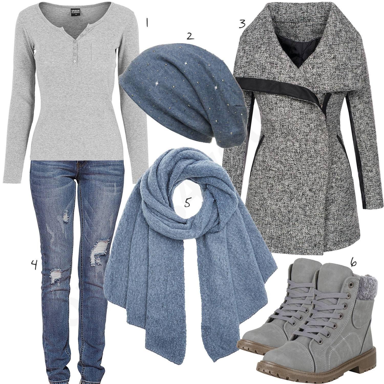 Hellgrau-Blaues Damenoutfit mit Mantel & Boots #jeansandboots