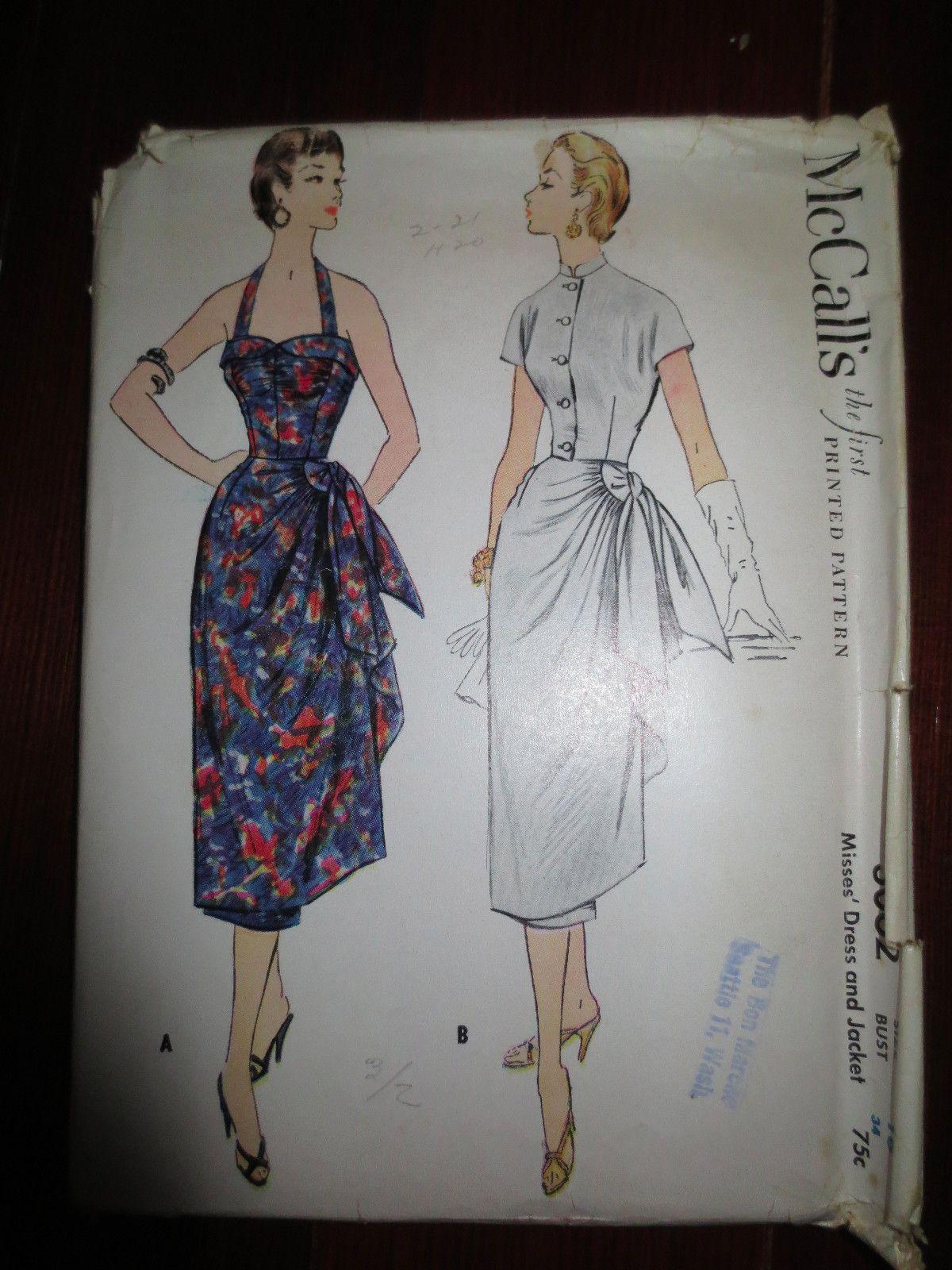 Vtg MCcalls Misses Dress & Jacket Sarong Sundress sz 16 Bust 34 ...