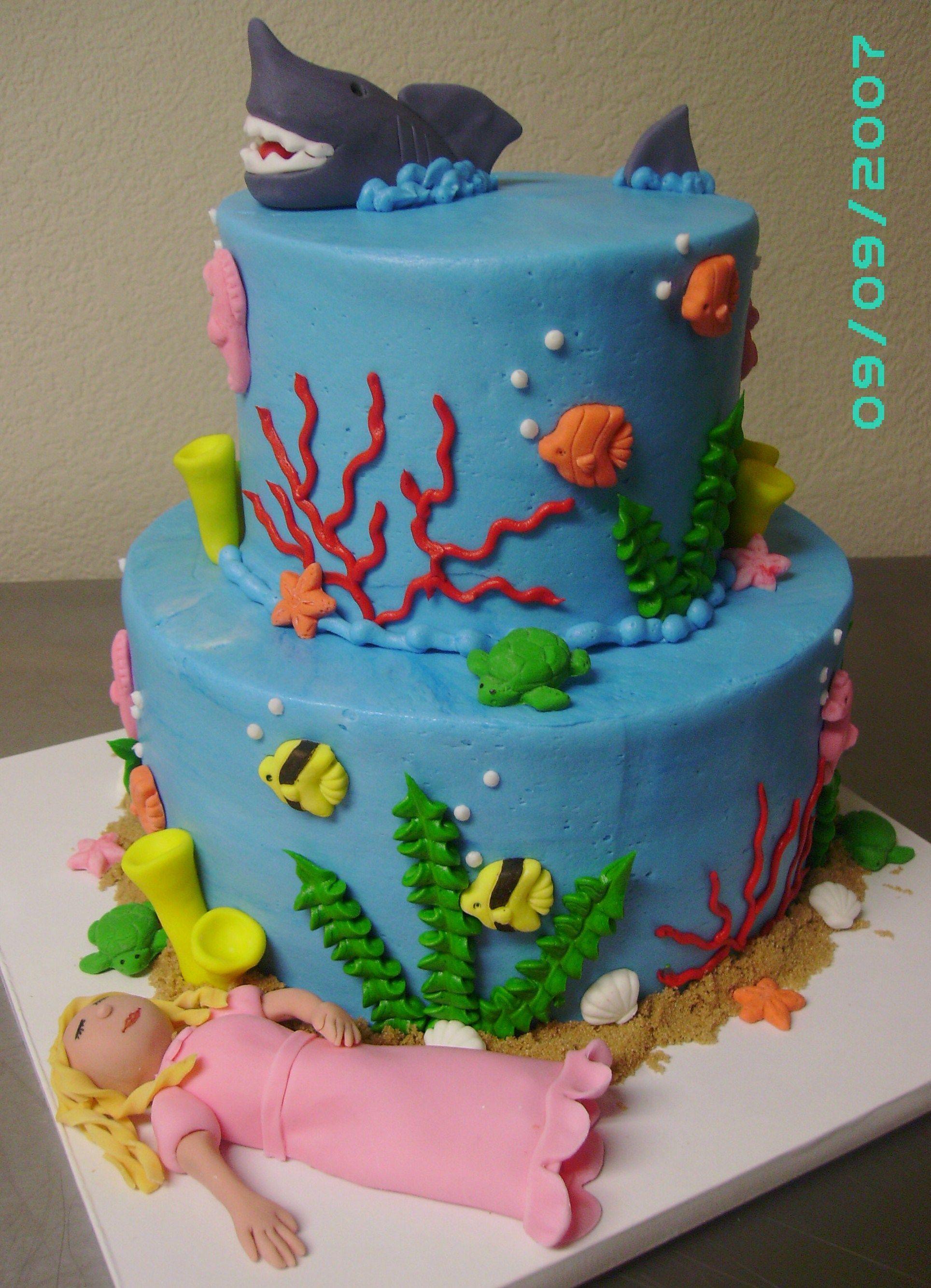 Sleeping with the Sharks Birthday Cake - cute fish