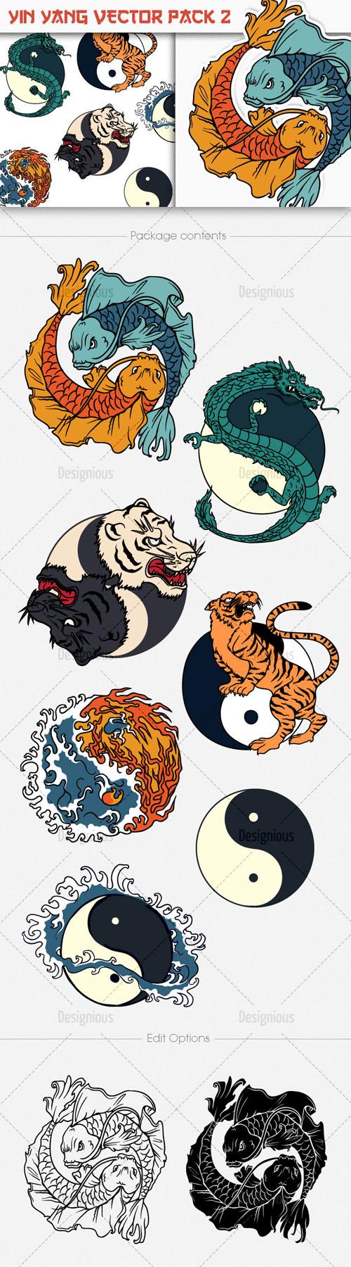 Shirt design vector pack - Yin Yang Photoshop Vector Pack 2
