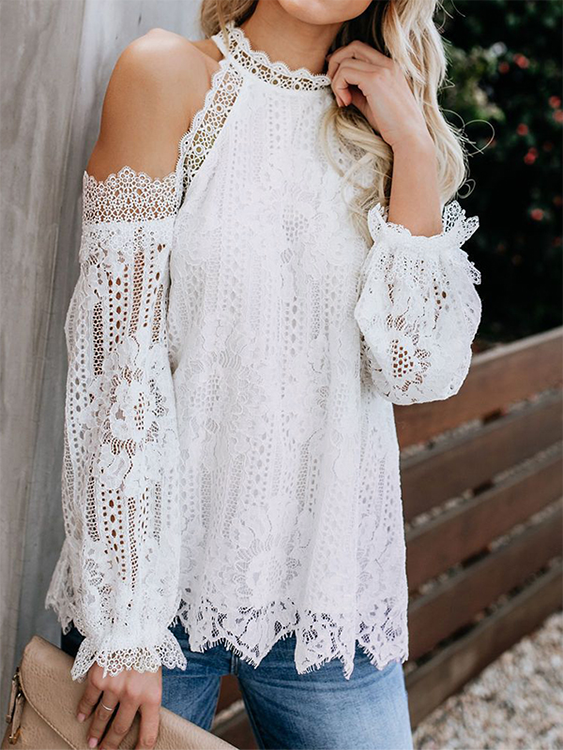 Extra 15 Your First Order On Yonis App Fashion Lace Cold Shoulder Top Crochet Lace Blouse