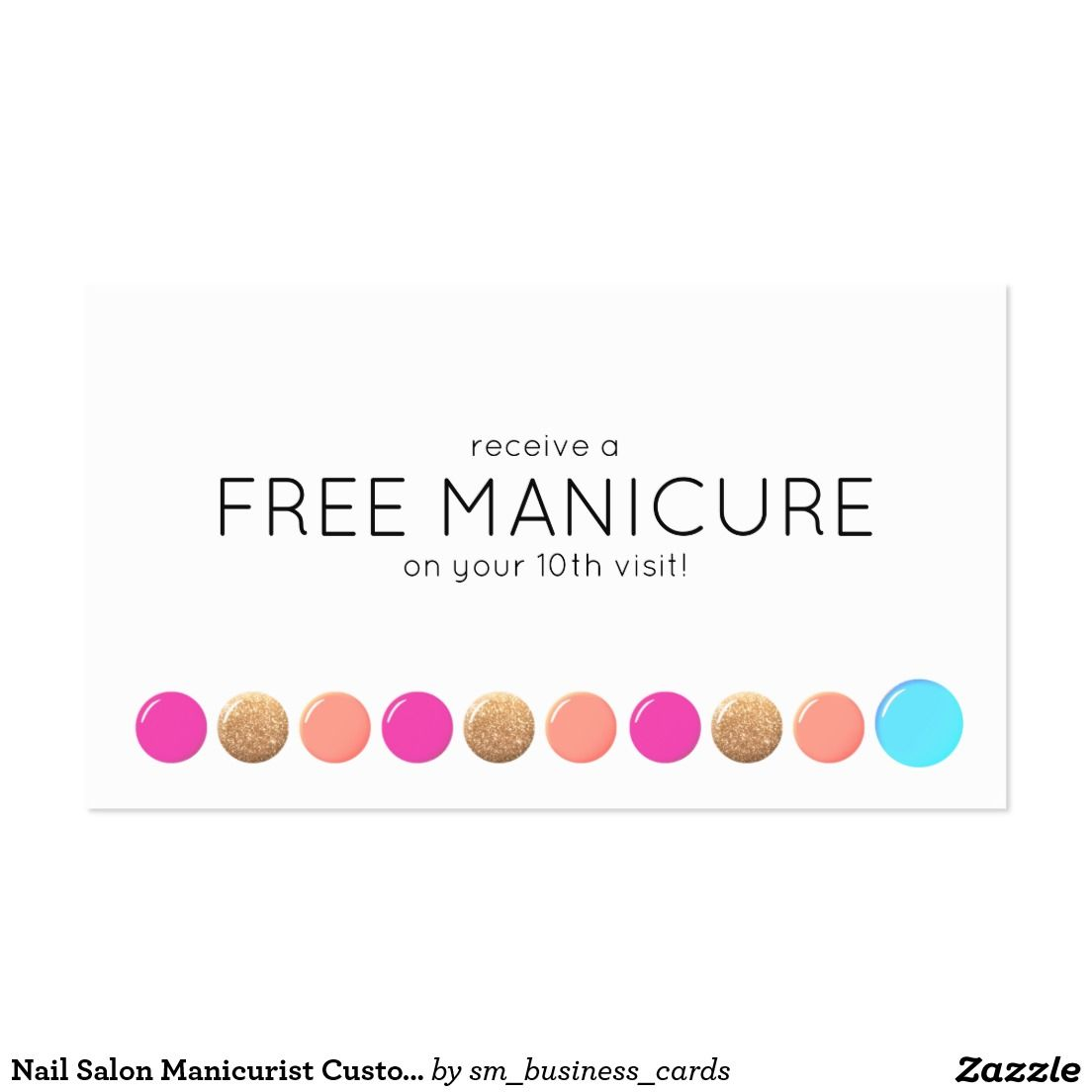 Nail Salon Manicurist Customer Loyalty 20 Punch Business Card