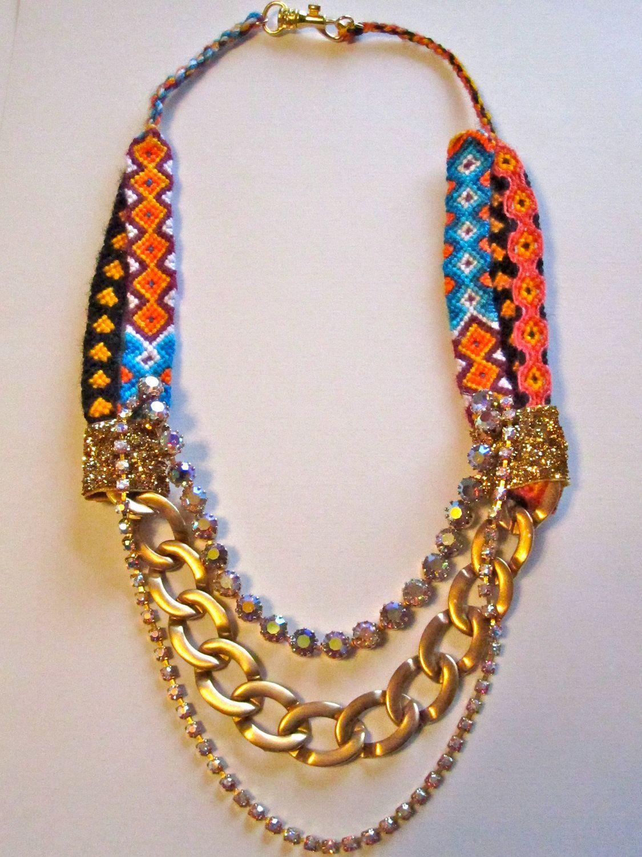 Vintage rhinestone statement friendship bracelet necklace creative