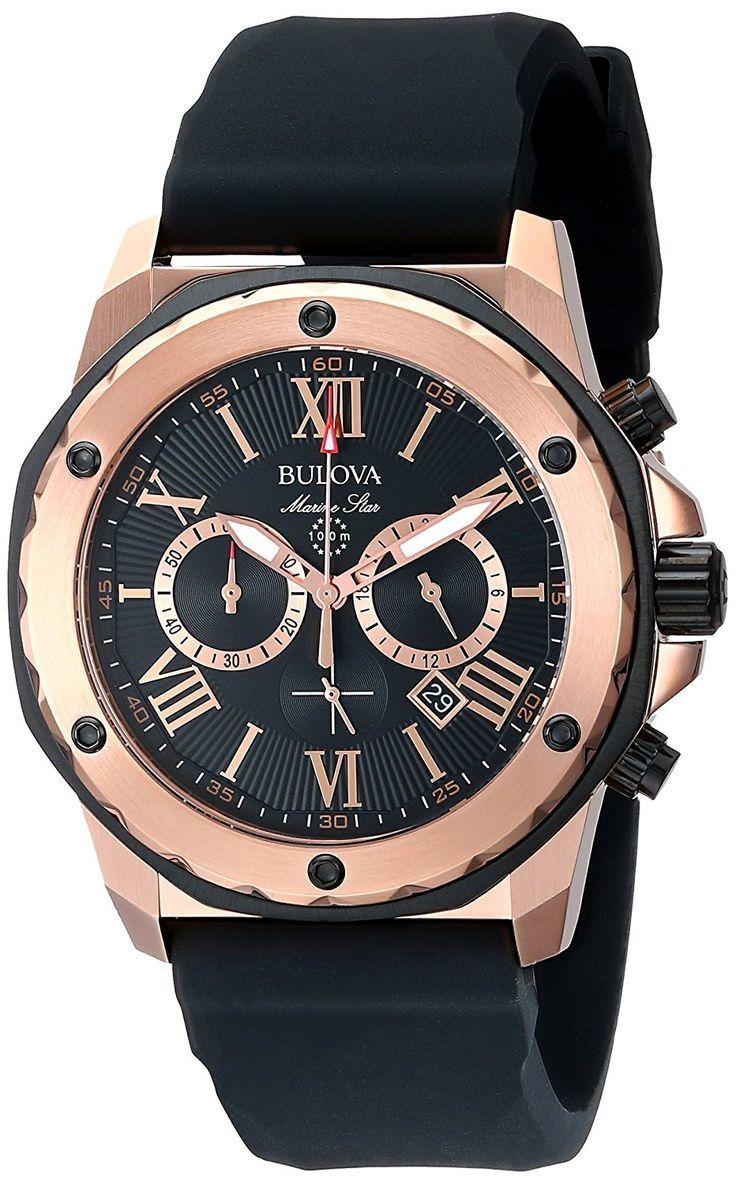 Bulova Men's Designer Chronograph Watch Rubber Strap - Water Resistant: £225.00 - Save: £124.00 (36%) www.amazon.co.uk/...