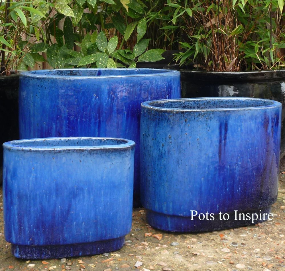 Blue Glazed Oval Pots Garden Pot Planter And Pots Essex Ebay Planter Pots Planters Garden Pots