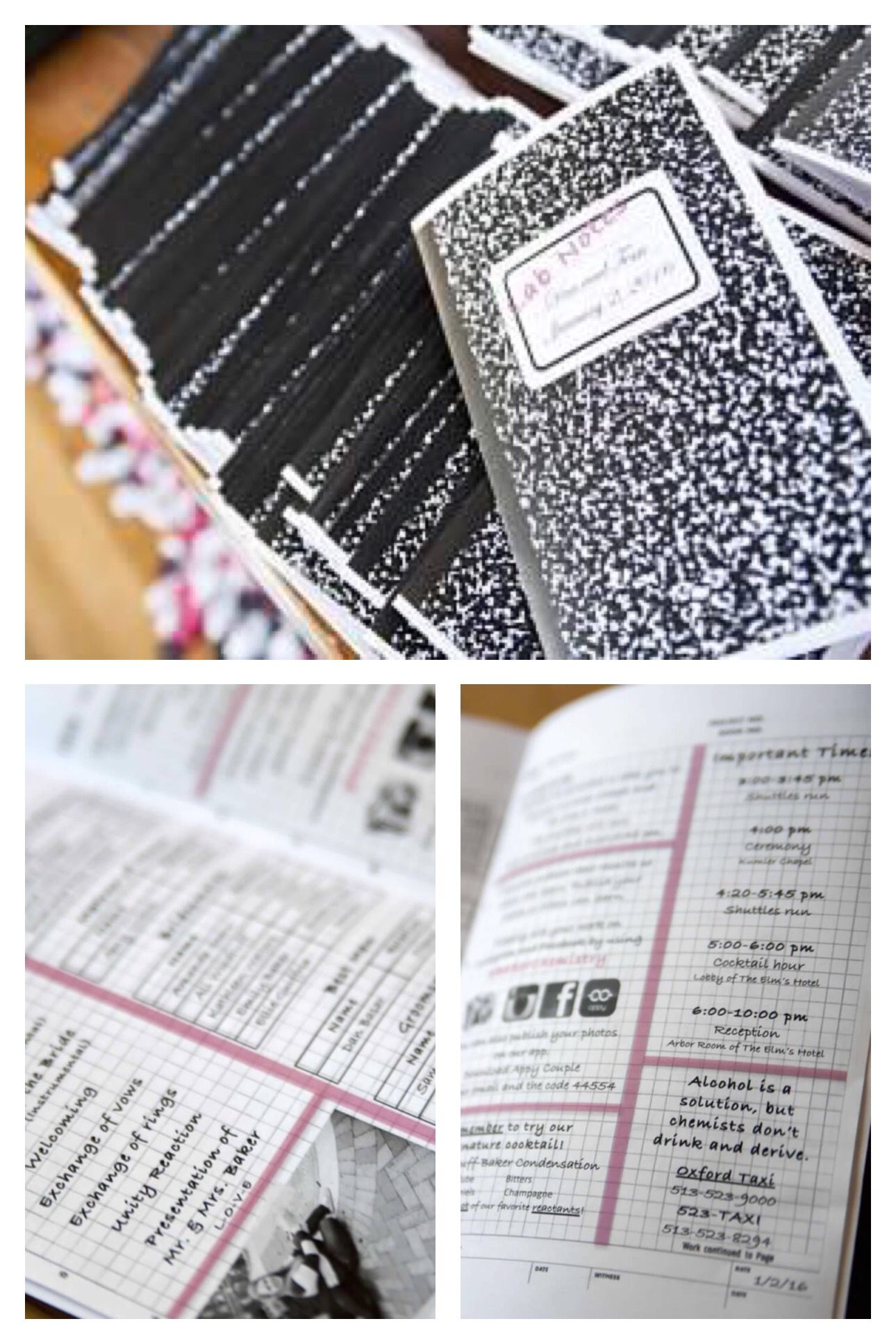 Lab notebook themed wedding programs. Chemistry wedding.   Wedding ...