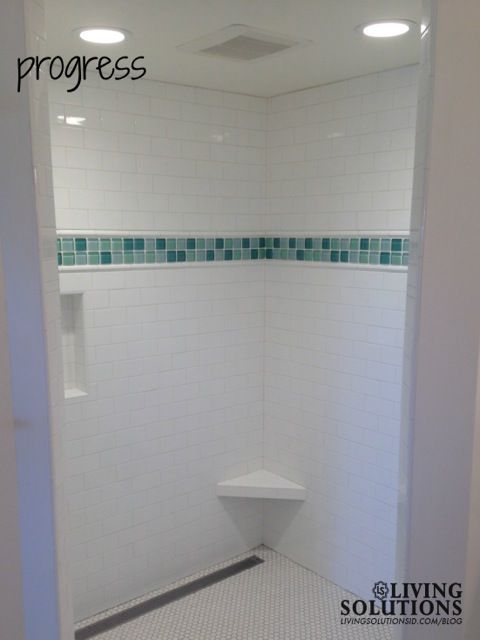 White Subway Tile Shower With Small Hexagon Floor Tile And